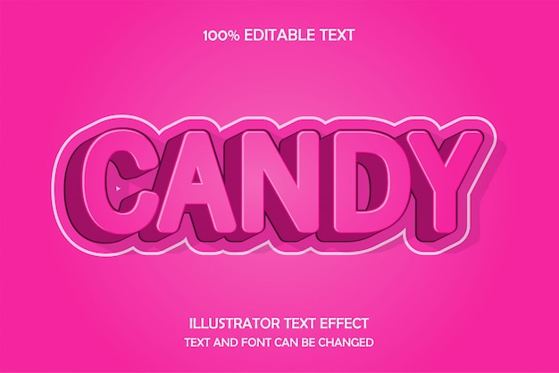 Candy, efecto de texto editable en relieve estilo degradado