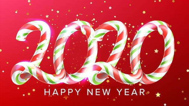 Candy in form 2020 feliz año nuevo banner