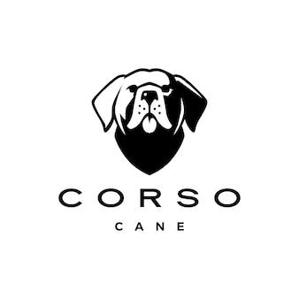 Cane corso cabeza de perro mastín italia logo