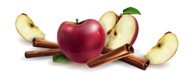 Canela y manzanas rojas
