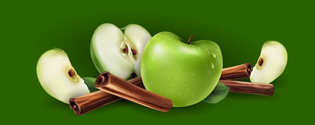 Canela y manzanas verdes