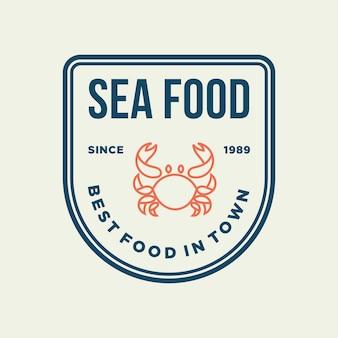 Cangrejo de marisco para diseño de logotipo de línea de restaurante