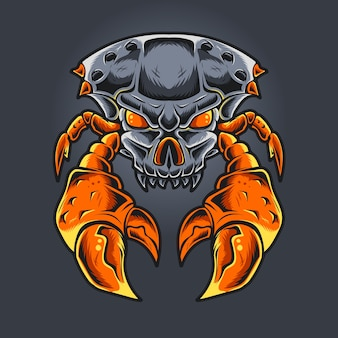Cangrejo monstruo cabeza de cráneo