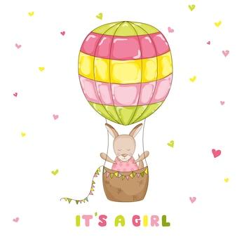 Canguro bebé niña con globo - baby shower o tarjeta de llegada