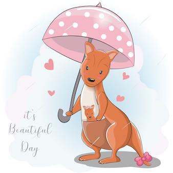 Canguro de dibujos animados lindo con paraguas bajo la lluvia