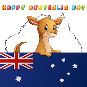 Canguro lindo de dibujos animados detrás de una bandera en el fondo del mapa