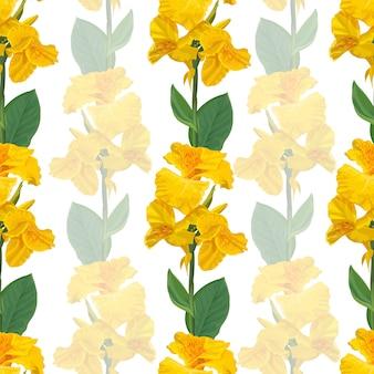 Canna lily flor amarilla de patrones sin fisuras en blanco