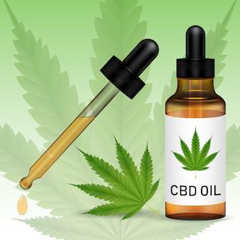 Cannabidiol o aceite de cbd con hoja de marijuanna
