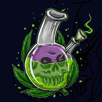 Cannabis en una jarra con calavera