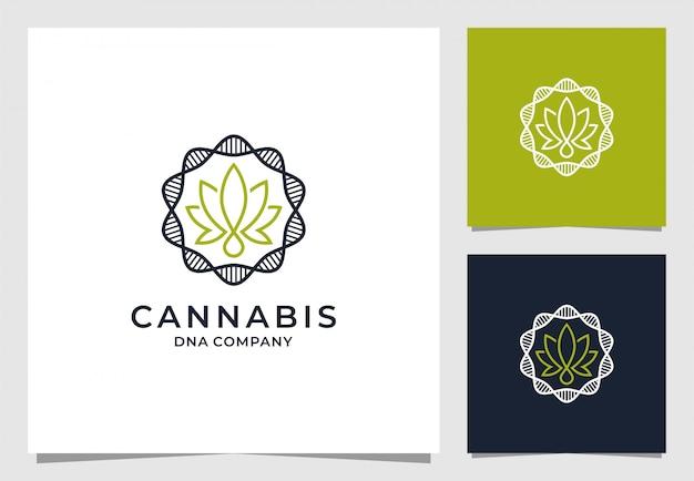 Cannabis con logotipo redondo de adn
