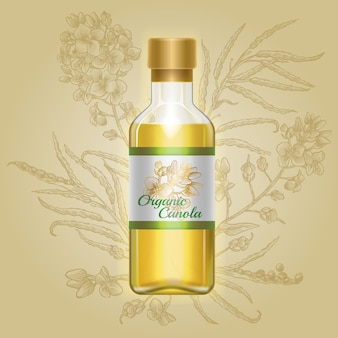 Canola orgánica, aceite de mostaza en botella de vidrio