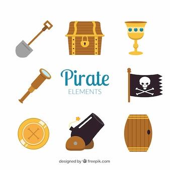 Cañón y otros elementos de piratas