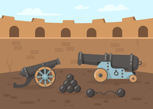 Cañones medievales con balas de cañón en la torre.