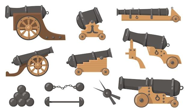Cañones medievales con conjunto de ilustración plana de balas de cañón. arma de madera y metal de dibujos animados para barcos viejos y colección de ilustraciones vectoriales aisladas de batalla de disparos. concepto de historia, destrucción y guerra.