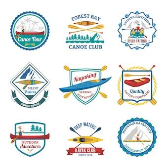 Canotaje de rafting y conjunto de emblemas de kayak