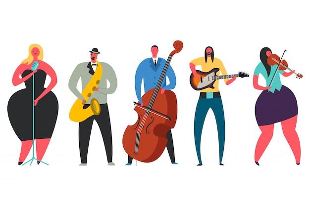Cantante, guitarrista, saxofonista, contrabajista, conjunto de caracteres vectoriales de violinista