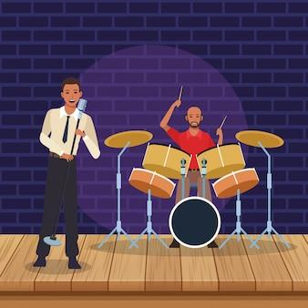Cantante y músico tocando la batería, banda de música de jazz