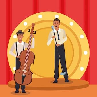 Cantante y músico con violonchelo, banda de música jazz