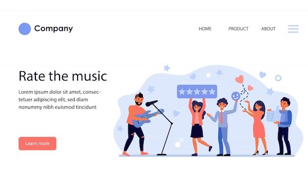 Cantante de rock de calificación de audiencia en concierto. diseño de plantilla de sitio web