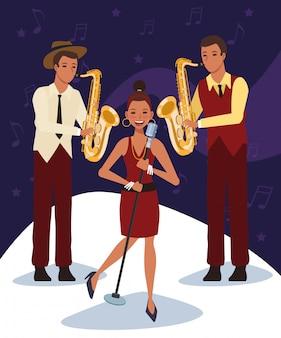 Cantante y saxofonistas, banda de música jazz
