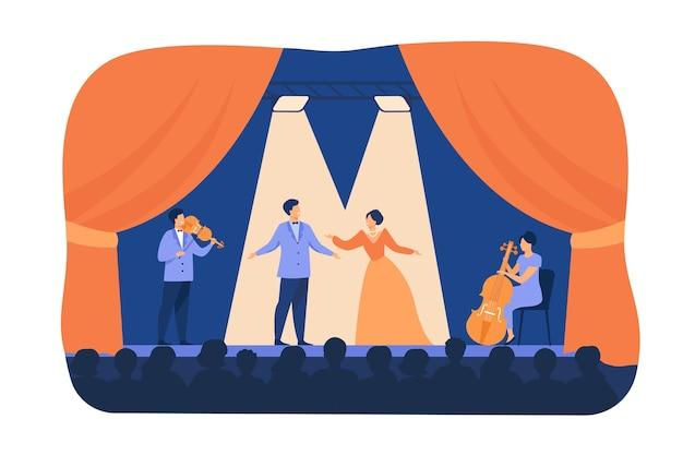 Cantantes de ópera tocando en el escenario con músicos. artistas de teatro vestidos con disfraces, parados bajo focos y cantando ante la audiencia. ilustración de dibujos animados plana para drama, concepto de rendimiento