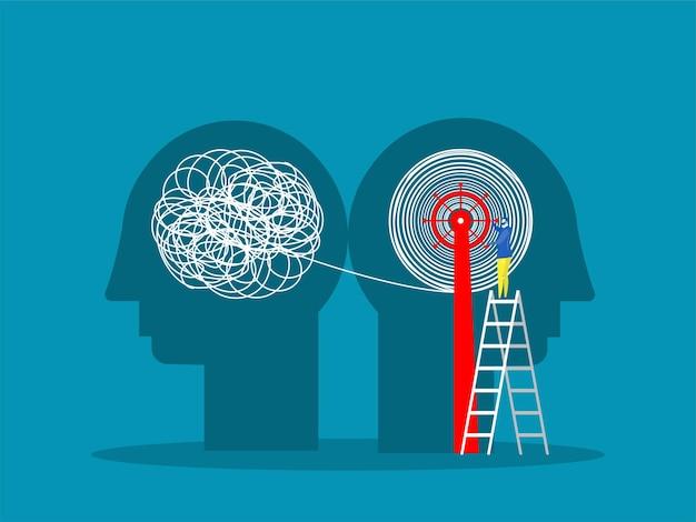 El caos de la mentalidad opuesta y el orden en la ilustración del concepto de pensamientos
