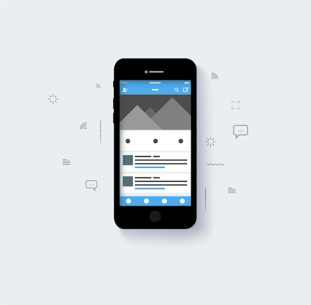 Capa emergente de diseño de redes sociales con tono de color azul