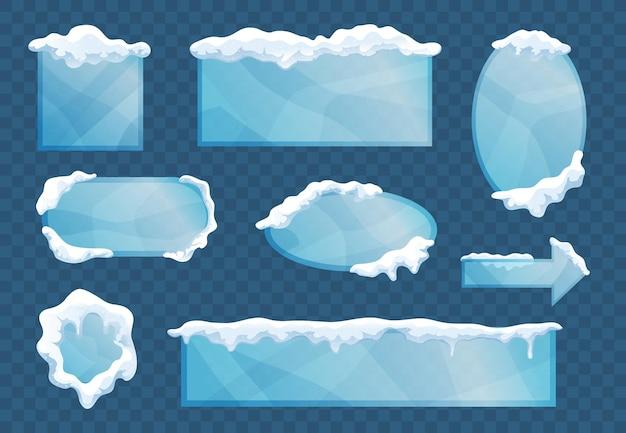 La capa de hielo de nieve enmarca elementos decorativos con formas de flecha ovaladas cuadradas rectangulares transparentes
