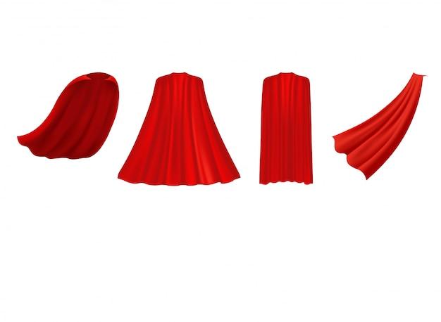 Capa roja de superhéroe en diferentes posiciones, vista frontal, lateral y posterior sobre fondo blanco.
