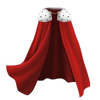 Capa en rojo con pelaje blanco y detalles dorados.