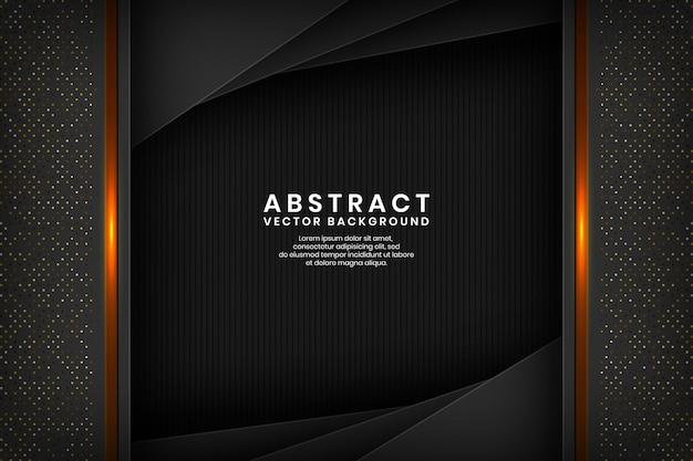 Capa de superposición de fondo abstracto negro moderno en el espacio oscuro con brillos dorados.