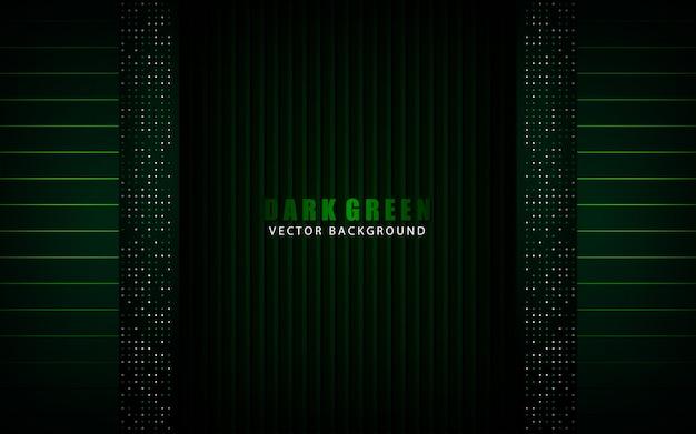 Capa de superposición de fondo abstracto verde oscuro moderno con decoración de elemento de puntos de brillos
