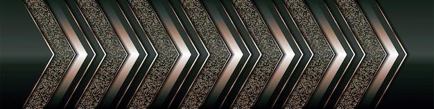 Capa de superposición de fondo de lujo moderno en espacio verde oscuro y negro con sombra con decoración de elemento dorado de línea de estilo abstracto