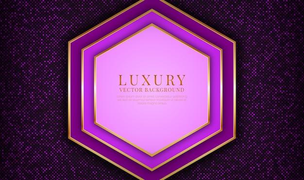 Capa de superposición de fondo de lujo púrpura abstracto con efecto de líneas metálicas doradas