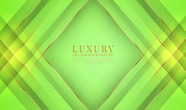 Capa de superposición de fondo de lujo verde 3d abstracto con efecto de líneas metálicas doradas