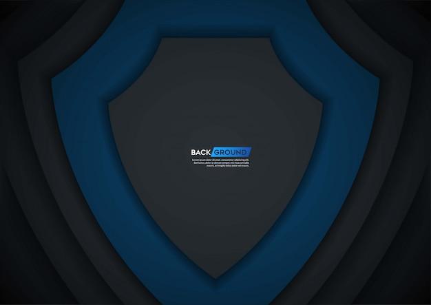 Capa de superposición de fondo oscuro con forma azul