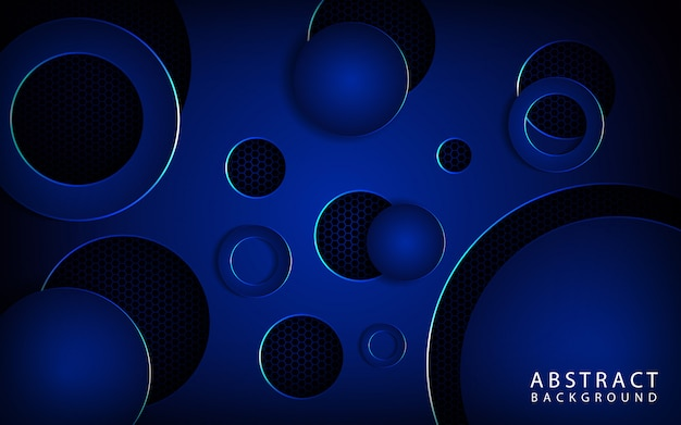 Capa de superposición de fondo de tecnología de círculo azul metálico moderno en espacio oscuro con estilo abstracto y efectos brillantes