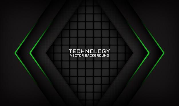 Capa de superposición de fondo de tecnología negra abstracta con efecto de luz verde