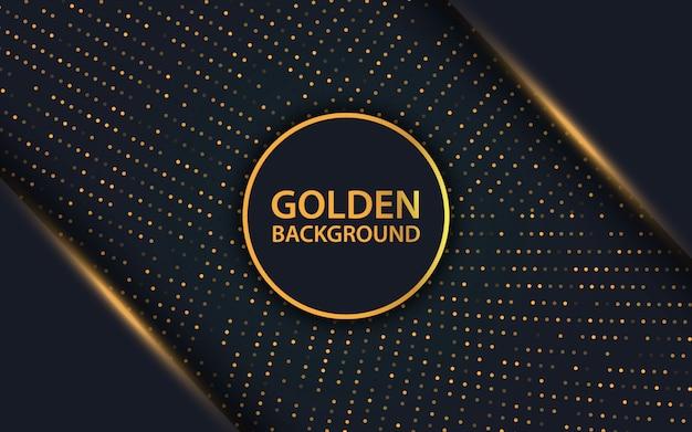 Capa de superposición negra de lujo y fondo de brillos dorados