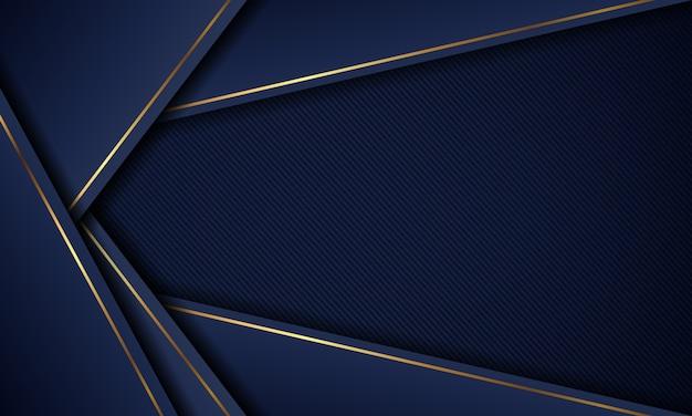 Capa superpuesta de fondo azul moderno de lujo con líneas doradas