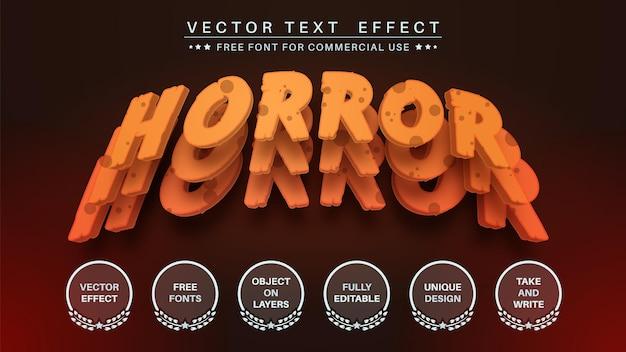 Capa de terror editar efecto de texto estilo de fuente editable