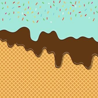 Capa de textura de helado de sabor dulce derretida sobre fondo de oblea