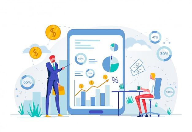 Capacitación comercial en línea o seminario financiero.