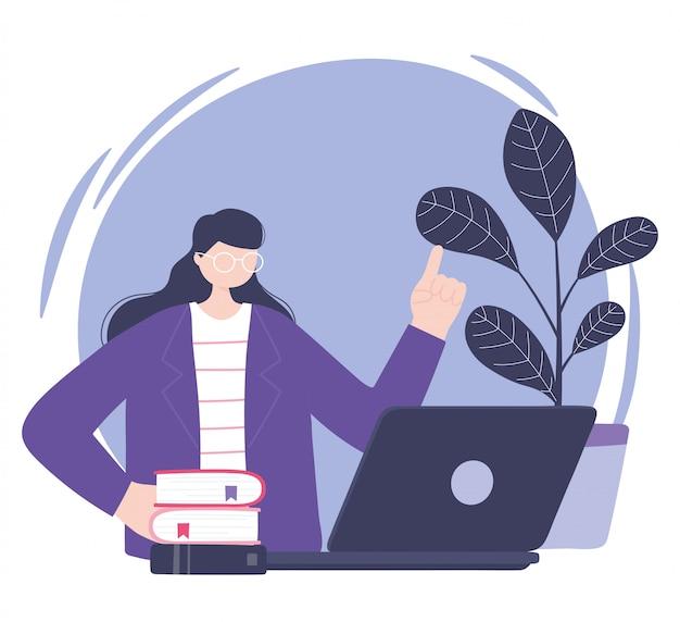 Capacitación en línea, mujer con libros para computadora portátil, educación y cursos que aprenden ilustración digital