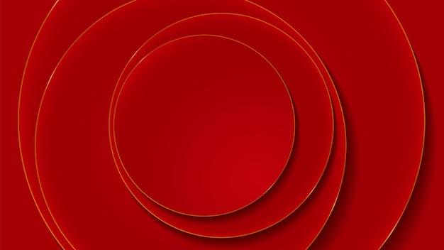 Capas de círculo rojo y dorado abstracto fondo de lujo