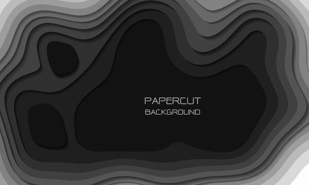 Las capas de corte de papel de tono gris abstracto se superponen al fondo de arte