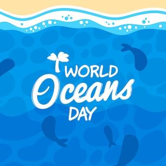 Capas del día internacional subacuático del océano plano