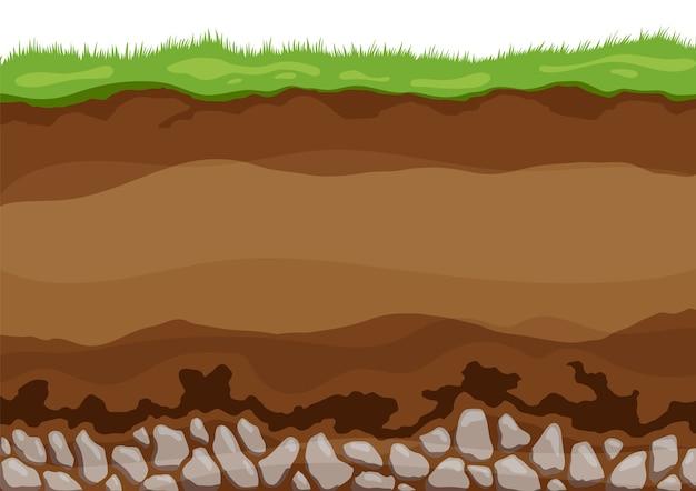 Capas de suelo. horizontes superficiales capa superior de la estructura de la tierra con mezcla de materia orgánica, minerales.