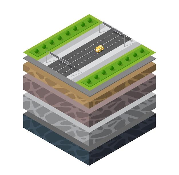 Capas de suelo, sección transversal, césped verde geológico y capas de suelo subterráneas debajo del paisaje de la naturaleza, porción isométrica de la tierra, capas de arcilla, arena y orgánicas extendidas, transporte de tráfico de automóviles