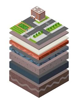 Capas de suelo, sección transversal, pasto verde geológico y capas de suelo subterráneas debajo del paisaje natural, porción isométrica de la tierra, capas extendidas de arena, arcilla y orgánicos del entorno urbano